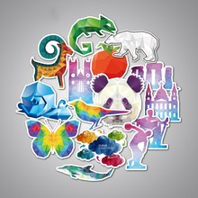 32 pcs Animal sticker Panda Lion Elk Bird Chameleon Rabbit Owl Cow Cat Wolf Dolphins Cool Child sticker Waterproof Stickers Toys(China)