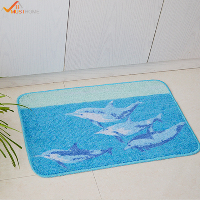 45x70cm Rubber Back Non Slip Bath Mat 17 X 27 Blue Dolphin Bathroom
