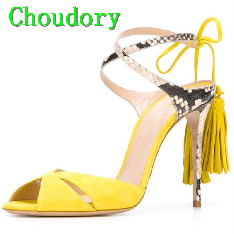 Choudory Leopard Print Mixed Colors Fashion Thin Heels Women Super High Heel Summer Sandals Fringe Cross-Tied Dress Shoes Women