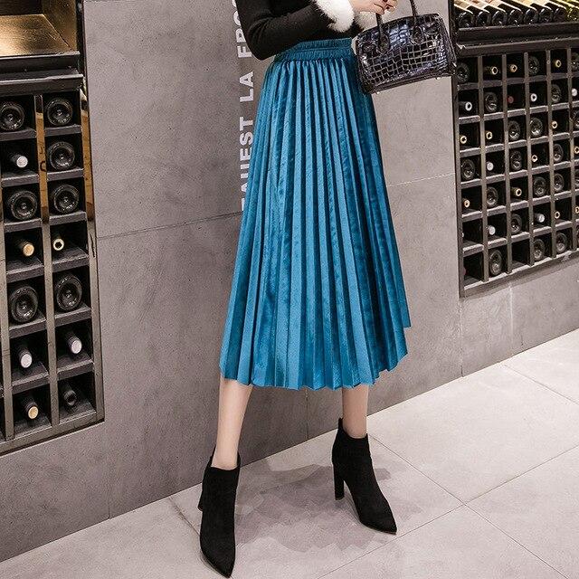 Autumn Winter Velvet Skirt High Waisted Skinny Large Swing Long Pleated Skirts Metallic Plus Size 3XL Midi Saia 2