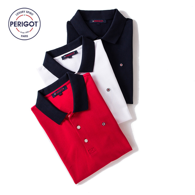 8ac0d860ddc PERIGOT PGM170805 2017 New Summer Men s Business Casual 100% Cotton POLO  Shirt Male Brand Contrast