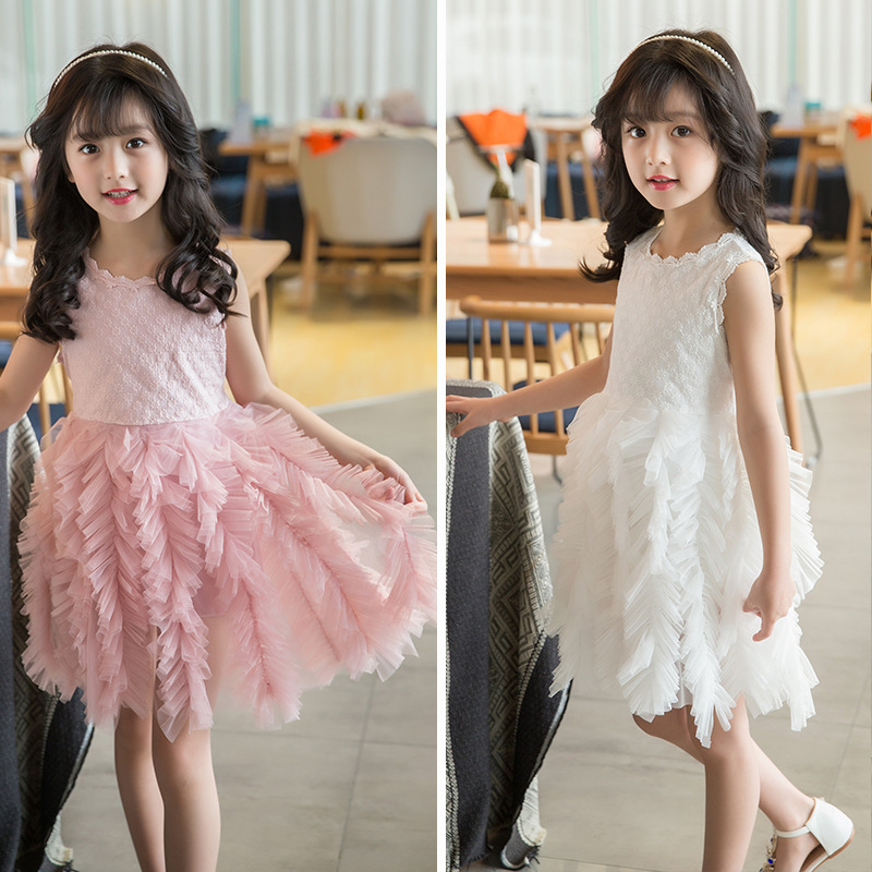 2018 Summer Girls Fashion Slim O Neck Sleeveless Floral Cute Dress Kids Baby Clothes Children Casual Princess Performance Dress new brand 2017 girls long dress summer fashion beach printing mid calf children casual o neck sleeveless clothes 6 15y kids hot