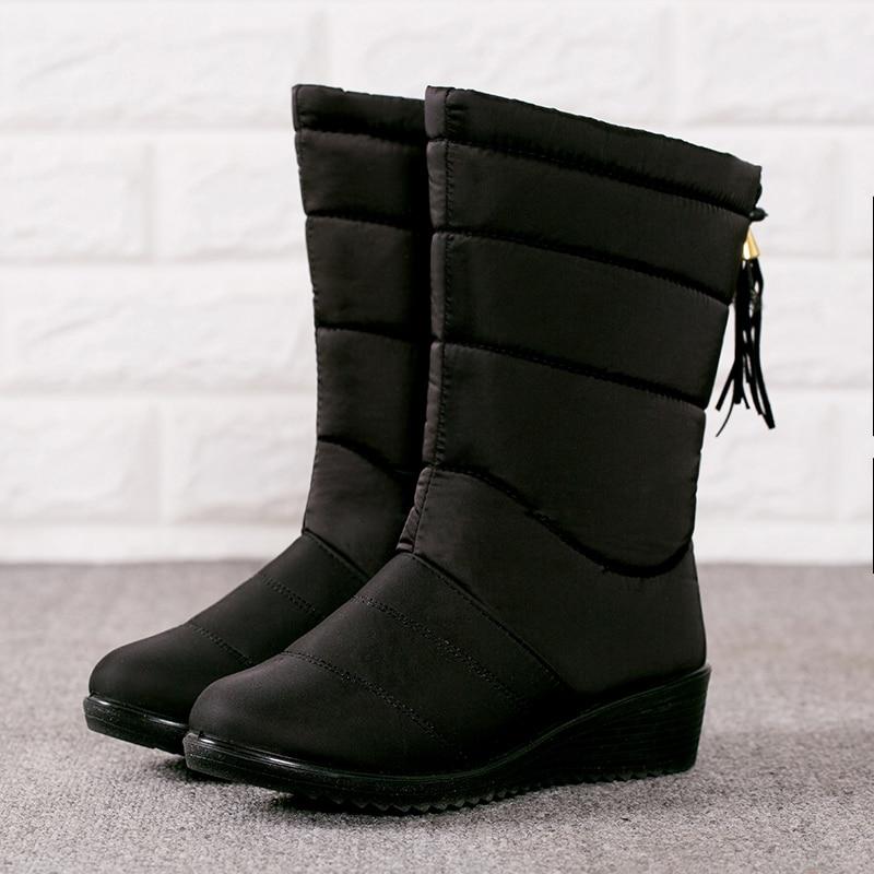Negro Botas Plantilla Abajo 175 Zapatos H Nieve Mujeres Impermeable De Las Mid calf Muchachas Invierno Mujer rojo gZ1HZ