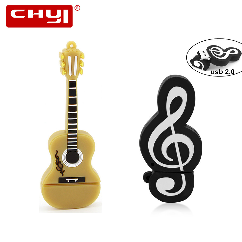 USB Flash Pen Drive Cartoon Guitar Music Note U Disk Memory Stick 64GB 32GB 16GB 8GB 4GB Pendrive