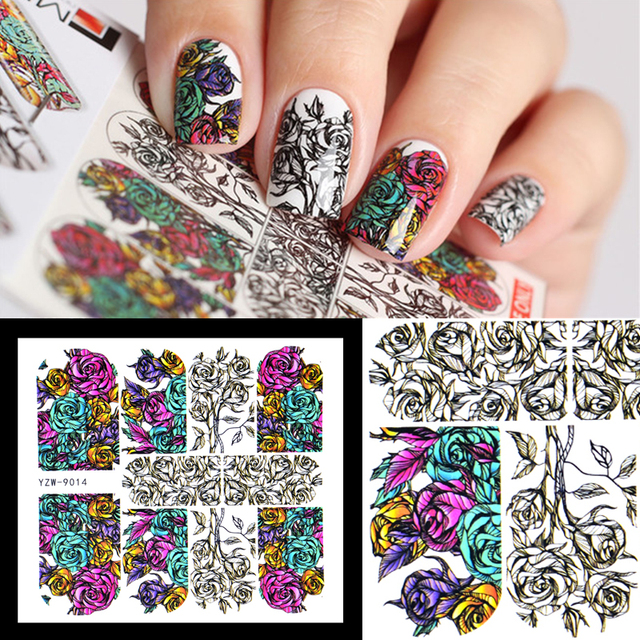 Yzwle 1 Sheet Nails Sticker Russian Hand Painted Flower Pattern Nail