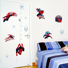 Disney Marvel Hero Spiderman Height Measure Wall Stickers Bedroom Home Decor Cartoon Growth Chart Decals Pvc Mural Art