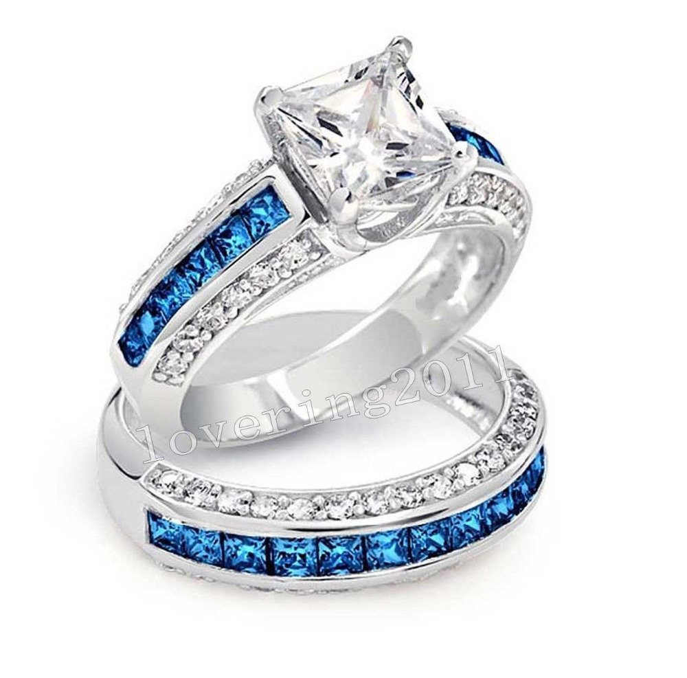 Luxury Jewelry Wholesale 10KT White Gold Filled Princess Cut Blue AAA CZ Zirdonia Simulated stones Wedding Womnen Couple Ring