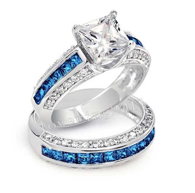 Luxury Jewelry Wholesale 10KT White Gold Filled Princess Cut Blue
