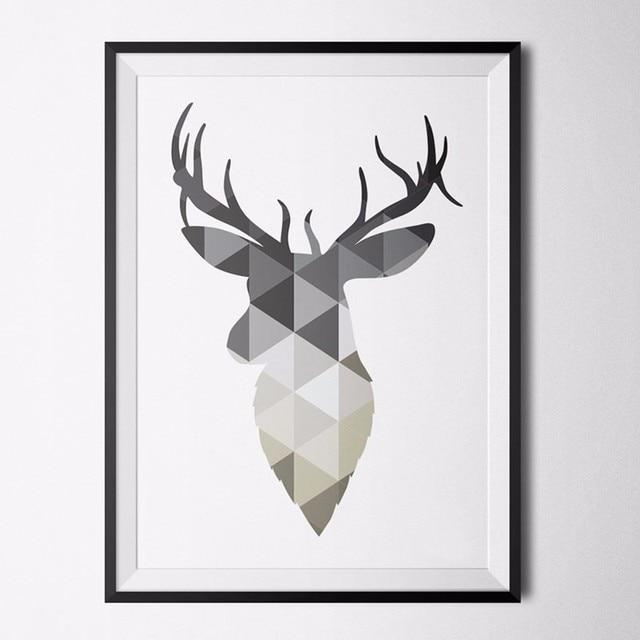 Geometric Purple Deer Wall Art Print Modern Poster Buck: Nordic Deer Grey Poster Print Art Canvas Art Poster Pop