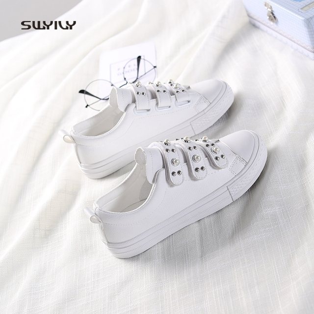 SWYIVY Women Vulcanize Shoes White Sneakers Pearl Reivet 2018 Spring Hook  Loop Casual Shoes Flat Lady Rhinestone Canvas Sneakers 7a854de97c2f