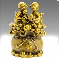 TNUKK christmas Lucky China Bronze Fengshui Wealth yuanbao Money Coin Zodiac 3 Monkey Statue halloween