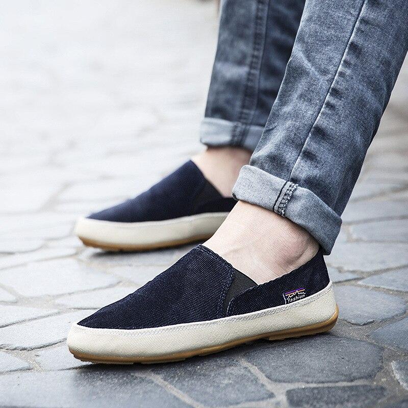 2017Hot Autumn Non-leather Casual Shoes Canvas Rubber Men Shoes Breathable Gumshoe Designer Male Footwear Denim Plimsolls shoes