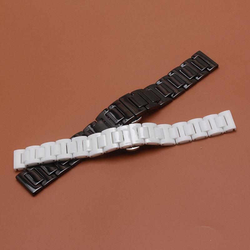 나비 버클 배치 보충을 가진 까만 시계 줄 광택이있는 아름다운 세라믹 시계 결박 팔찌 14mm 16mm 18mm 20mm