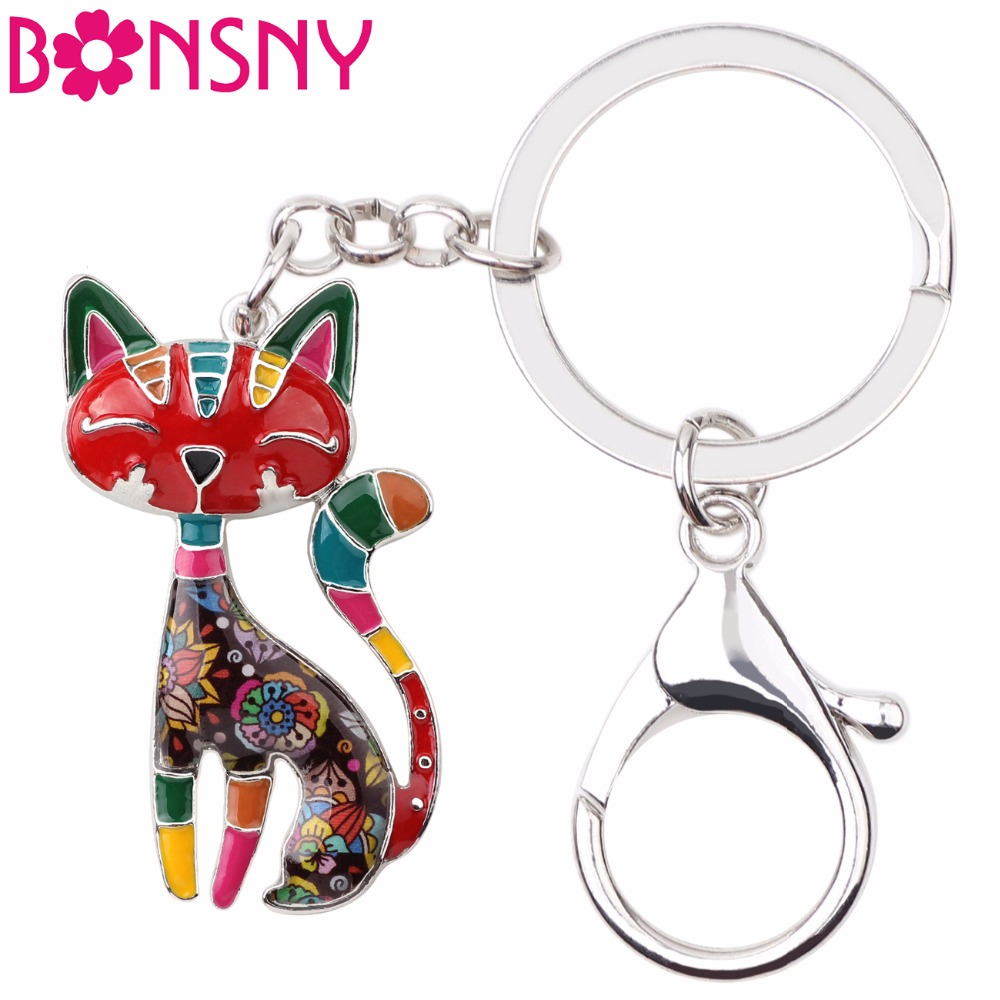 Bonsny Metal Enamel Cat Kitten Key Chain Keychains Rings For Women Girls Gifts Handbag Pendant Animal Jewelry Car New Decoration