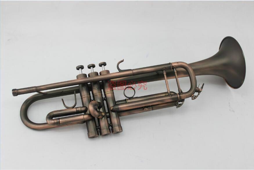 Haute qualité MARGEWATE Bb laiton trompette Unique mat Antique cuivre Surface professionnelle B plat Instruments trompette pour les étudiants
