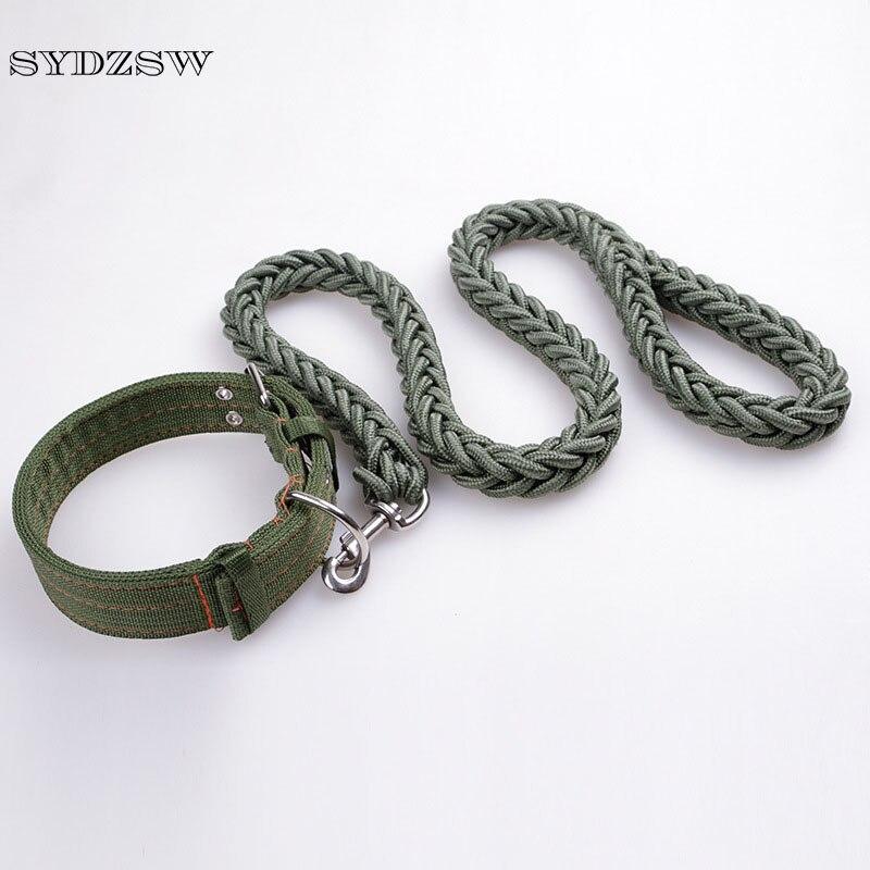 SYDZSW Fuerte Grande Collar de Perro y la Correa Conjunto Verde Para Mascotas ca