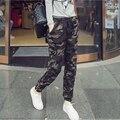 Mulheres Calças de Camuflagem de Algodão De Corpo Inteiro Cintura Elástica Impressão Calças Das Mulheres Calças de Casimira