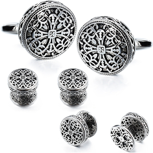 Image 1 - HAWSON Vintage Cufflinks and Tuxedo Shirt Studs for Men Retro Flower Pattern   Best Wedding Business Gifts for Men with Box