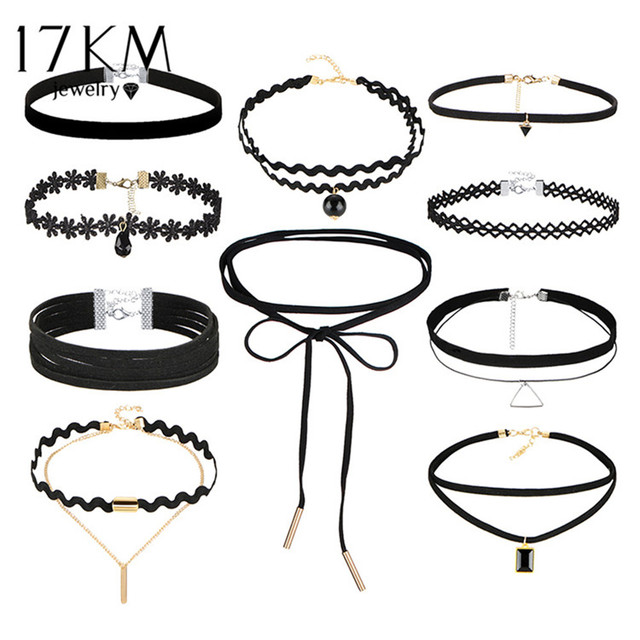 17KM Bohemian Gothic Tattoo Choker Necklaces Set for Women Black Lace Long Neckl