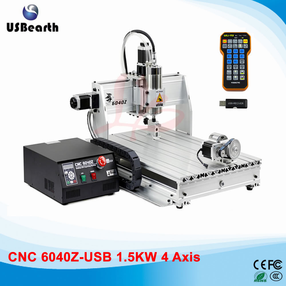 USB cnc machine 6040Z-USB engraving machine mach3 remote control with rotary axis,  free tax to EU countries russia tax free 6040z usb 4 axis1 5kw hot usb cnc 6040 sculpture wood carving cnc router machine with mach3 remote control