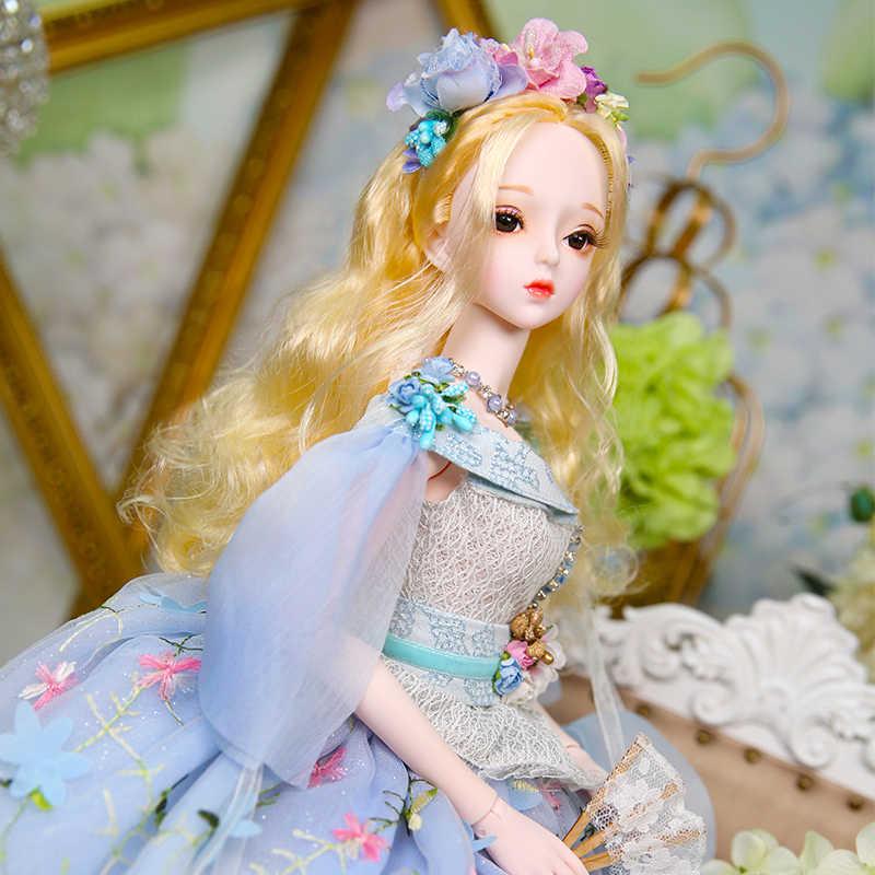 1/3 bjd куклы 62 см кукла с гибкими суставами белая кожа золотые волосы с цветком туфли под платье головной убор, Каролин