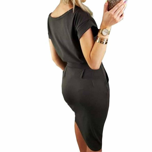 2018 New Summer Women Dress Knee-Length Sexy Bandage Bodycon Dress Short Sleeve Casual Dresses Sundress Femme GV451 2