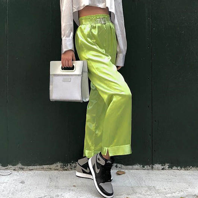 Casual Fashion   Wide     Leg     Pants   Women Solid Green Black High Waist Elastic Streetwear Going Out Full Spring New 2019 Dropship