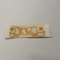 Custom Shiny Gold Material High Density Clothing Labels Woven Labels