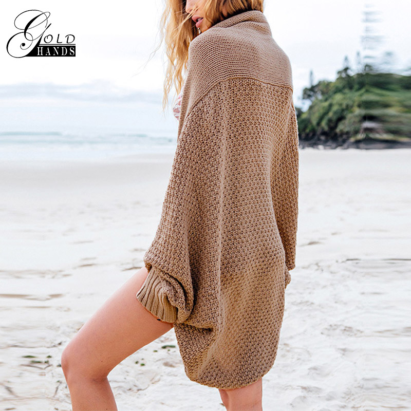 Gold Hands Fashion Women Sweater Cardigans Batwing Sleeve Warm Knitted Oversize Shrug Shawl Autumn Causal Outwear