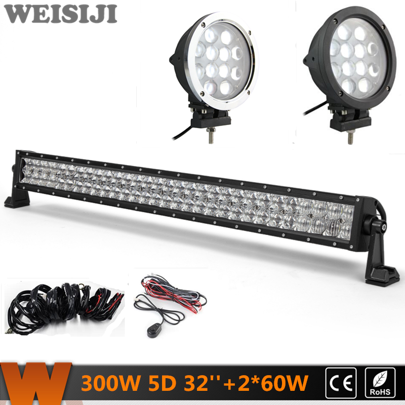 WEISIJI Dual-row 300W 5D LED Light Bar+2Pcs 60W 4*4 Offroad LED Work Lights+2Pcs Wiring Kits Sets for Jeep Truck SUV ATV UTV видеоигра бука saints row iv re elected