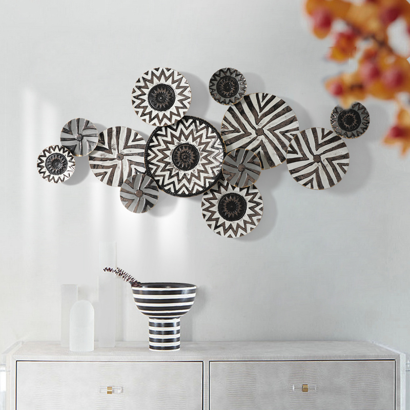 European Wrought Iron 3D Round Shape Wall Hanging Crafts Decoration Home Livingroom Porch Wall Sticker Metal Mural Ornaments Art