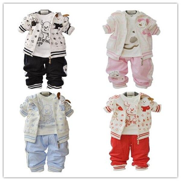 Retail, 3pcs  (Jacket+shirt+Pant) Boys Girls Dog Style Suit, Boys Autumn Winter Clothes Set,  IN STOCK