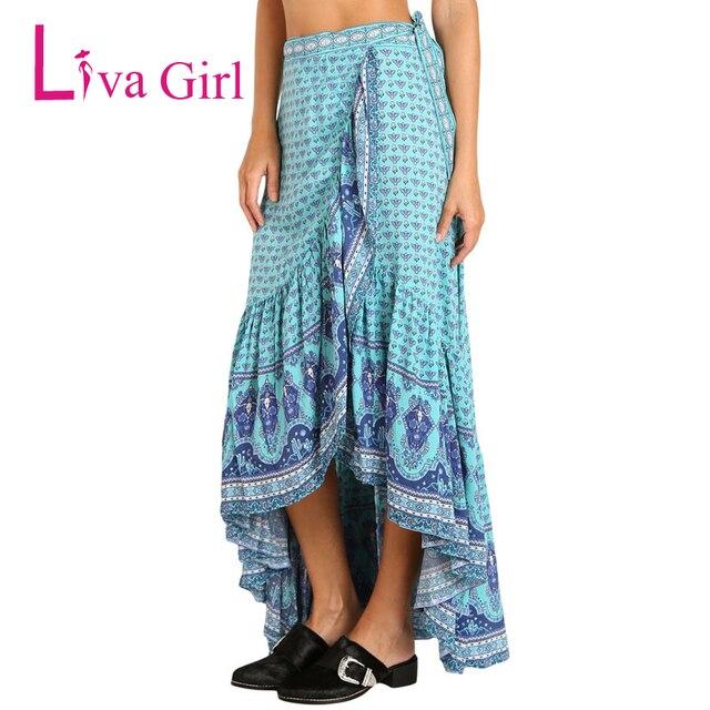 16465f30427 Liva Girl Bohemian Plus Size Floral Print Maxi Skirt Women Gypsy Style A  Line Skirts Boho High Low Autumn Sarong Beach Skirt XXL