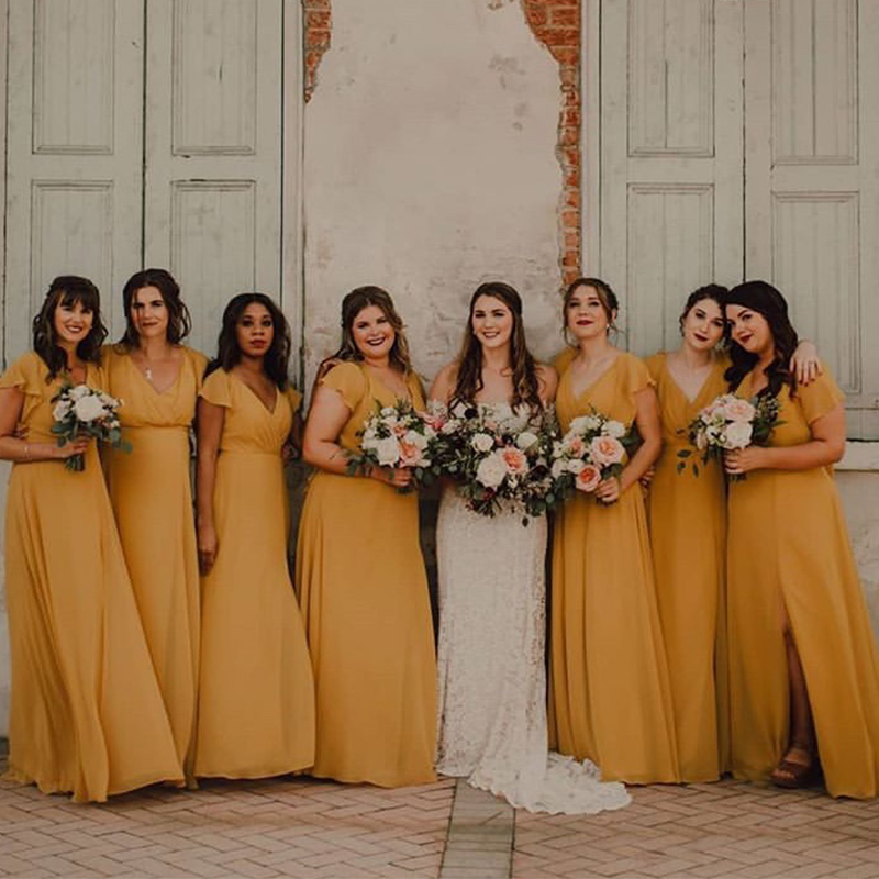 V-neck Ginger Chiffon   Bridesmaid     Dresses   Cap Sleeves Long Plus Size Maid Of Honor   Dresses   Simple Wedding Formal Party Gowns