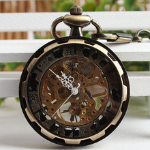 Gift Antique Style Open Face Hollow Roman Numbers Bronze Pocket Watch Fob Vintage Pendant Mechanical Hand Wind Steampunk TJX052