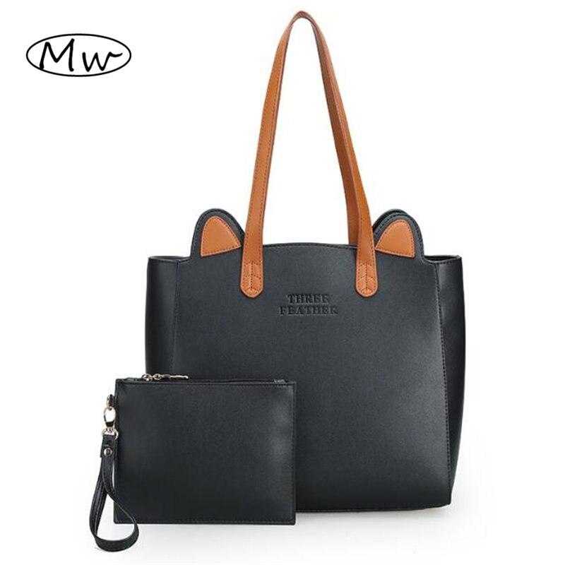 High Quality Big Tote Bag 2018 Autumn Winter Women Leather Handbags Cute Cat Ears Shoulder Bag