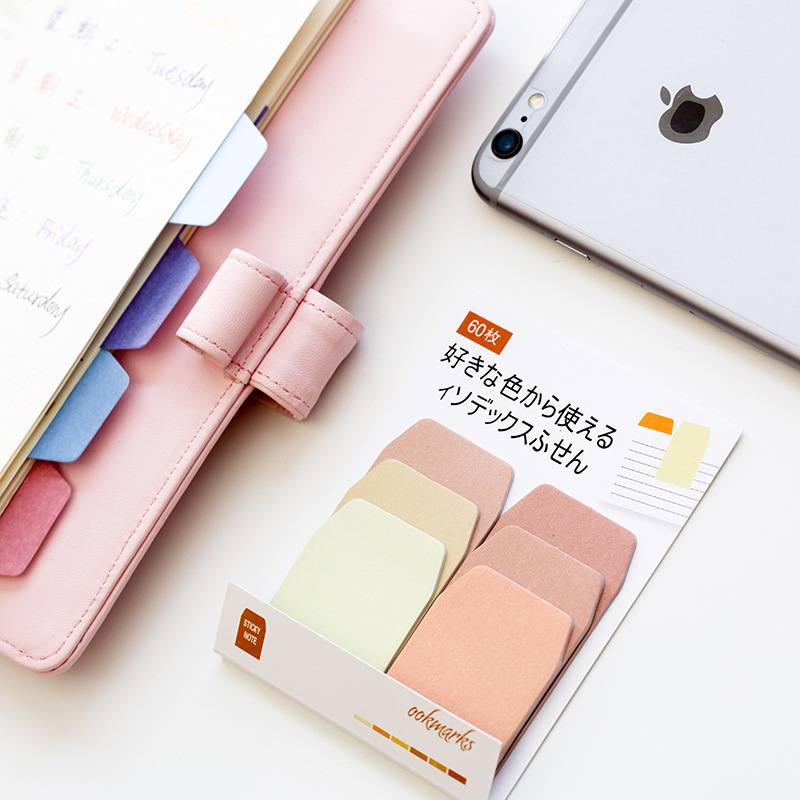 60 ark / Pack Candy Color Index Sticky Notes Notebook Planner Tilbehør Tool Index Sticky Sticker Beskjed Notater Skrapelodd