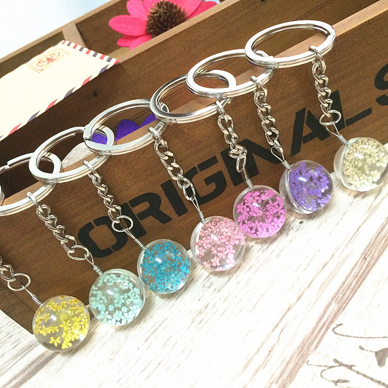 HouBian Glass Ball Dry Flower Key Chain Sweet Romantic Eternal Flower Glass Key Ring Accessories ...