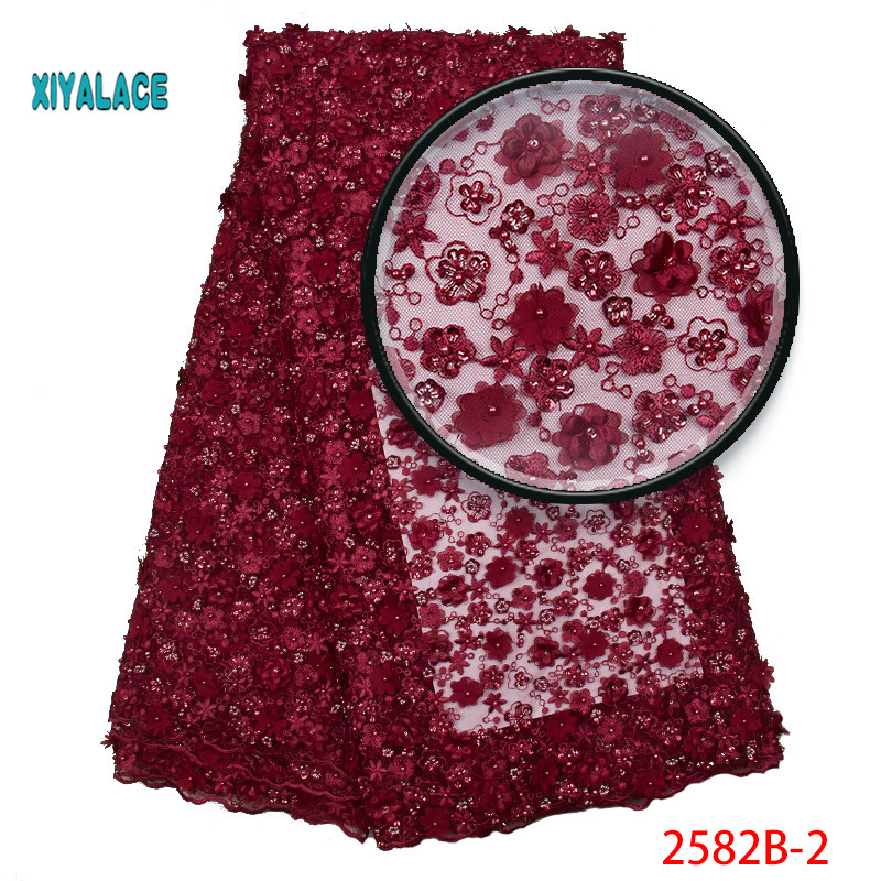 African Lace Fabric 2019 New Style 3D Flower African Tulle Mesh Lace Fabric High Quality Lace Nigerian Lace Fabric YA2582B-2