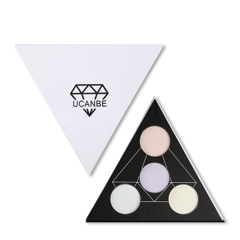 UCANBE Brand Triangle Shimmer Highlighter Powder Brightening Eye Lip Face  Makeup Mermaid Illuminator Glow Kit Contour Palette
