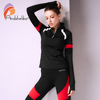 Andzhelika Women Sport Long Sleeve Jackets Running Fitness Zipper Outerwear Patchwork Quick Dry Sweatshirts Yoga Top Tracksuits