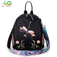 MLITDIS Hot Fashion Flower Embroidery Backpack Women Nylon Mini Backpacks Female Rucksack  For Teenage Girls Mochilas