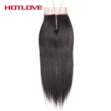 Hotlove Hair Straight Lace Closure Middle Part 4×4 Size Remy Human Hair 8″-18″ Natural color