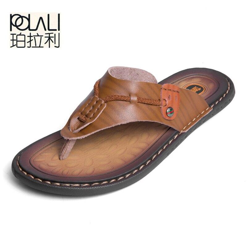 dab3e7d814a POLALI Men Sandals Men Beach Sandals Brand Men Casual Shoes Flip Flops  Genuine Split Leather Sneakers