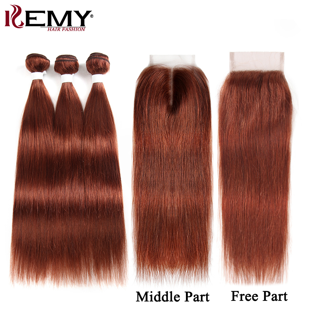 Brown Auburn Human Hair Bundles With Closure 4 4 KEMY HAIR 100 Brazilian Straight Human Hair