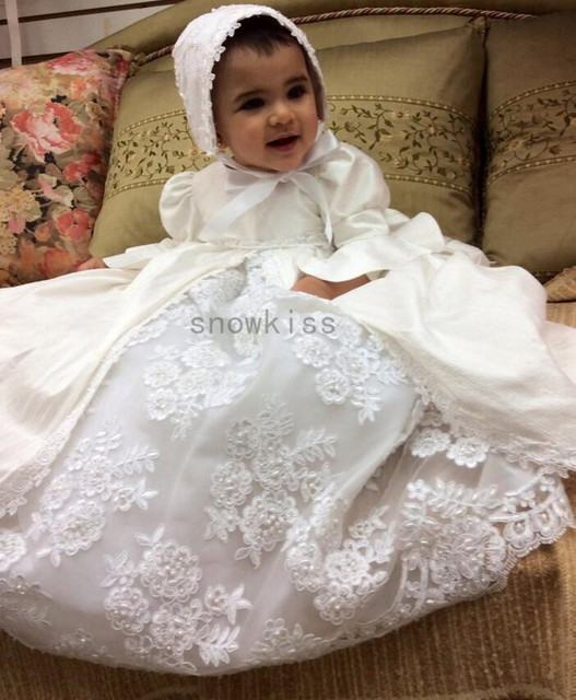 2016 New Blings Pearls White/Ivory Lace Baby Dress Baptism Gowns for Boys and Girls christening gowns With Bonnet 1 year old