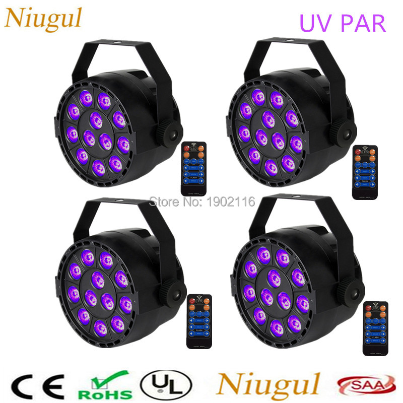 4pcs/lot UV light 12X3W LED par can with remote control led 36w par light Holiday Stage lighting for dj party purple led lamp mipow btl300 creative led light bluetooth aromatherapy flameless candle voice control lamp holiday party decoration gift