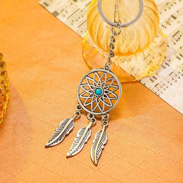 FAMSHIN Fashion Dream Catcher Tone Key Chain Silver Ring Feather Tassels Keychain Around The Waist Key Chain For Gift 2018 New