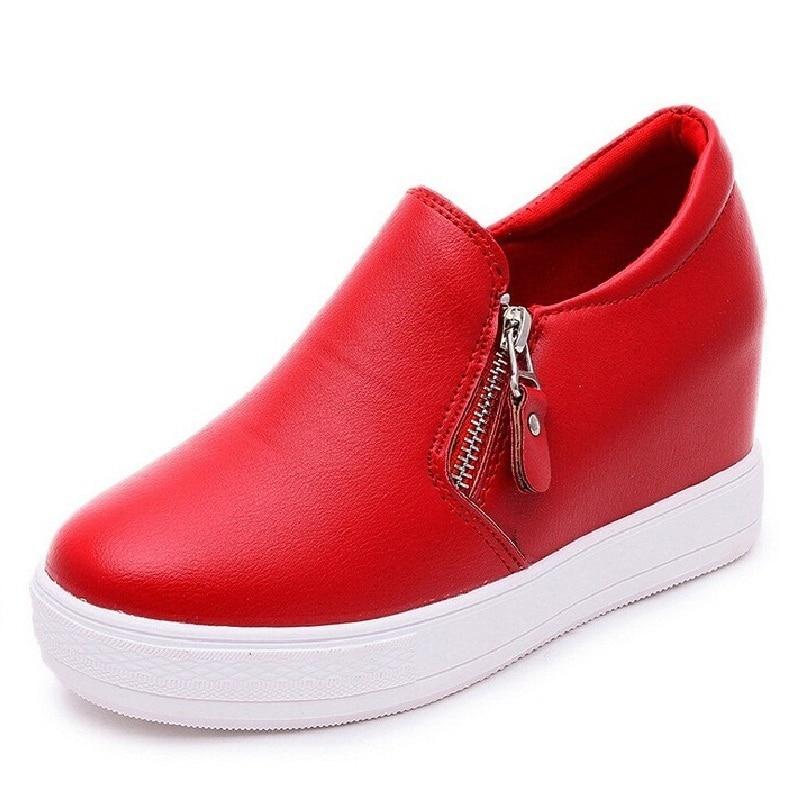 Women Fashion Shoes Height Increasing Women  Elevator Shoes Zipper Side Platform Shoes Wome Black Red White цены онлайн
