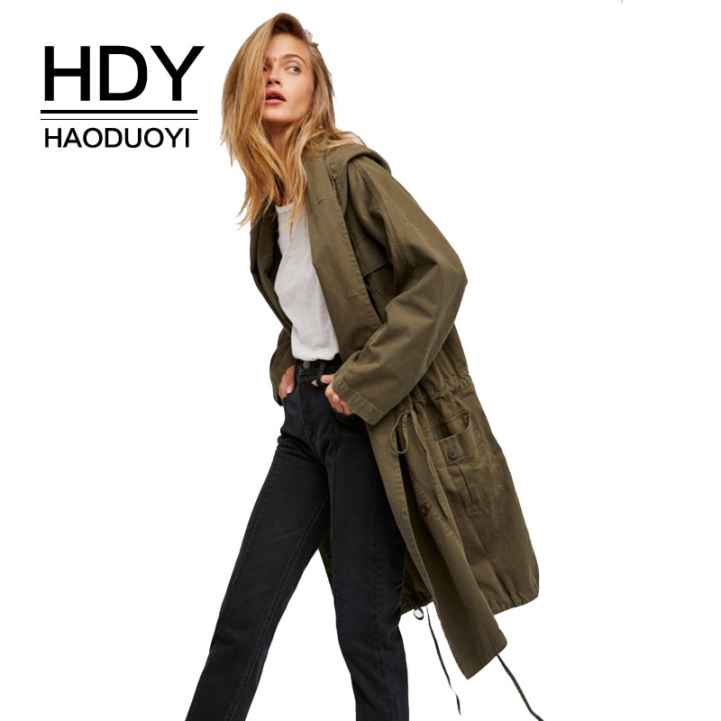 HDY Haoduoyi Women   Trench   Coats Vintage Cargo Draped Long Coat Winter Autumn Casual Hooded Coats Army Green Female Outwears